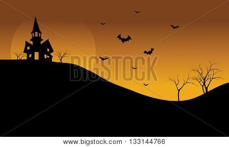 Halloween castle and bat at afternoon silhouette a beautiful scenery