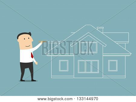 Cartoon businessman is planning to buy a home in the near future drawing with pencil a two story house. Real estate and housing concept design