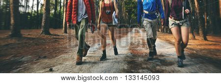 Camping Walking Friendship Outdoors Nature Concept