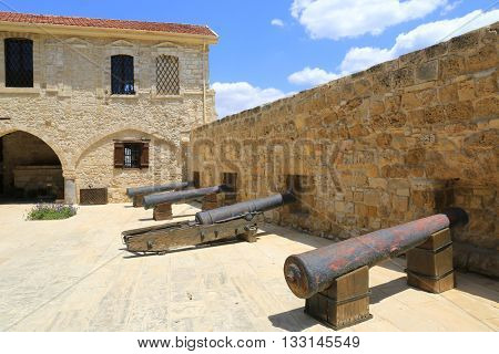 Old guns in Larnaka Medieval Castle in Cyprus