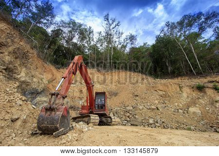 KOTA KINABALU, MALAYSIA - JUNE 04 2016: Deforestation. Environmental damage to rainforest in Borneo, nature destroyed for oil palm plantations and construction.