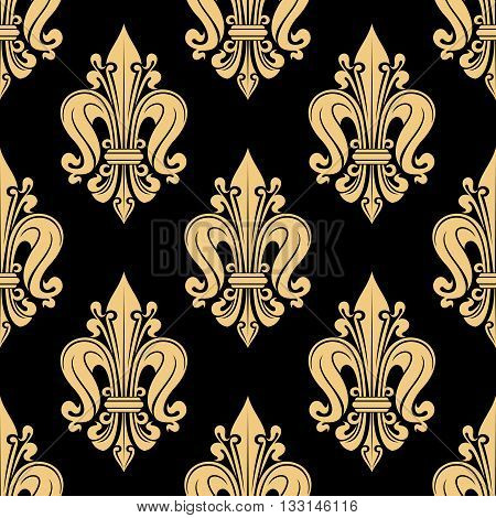 French heraldic seamless floral pattern of yellow fleur-de-lis motif on black background with royal lilies bunches tied by decorative swirling bands. Use as vintage interior accessories or upholstery design