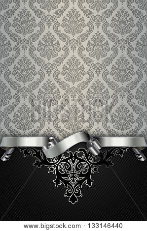 Vintage background with old-fashioned patterns and elegant silver ribbon.