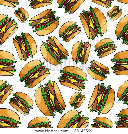 Seamless double cheeseburgers pattern background of fast food sandwiches with ground beef patty, fresh tomatoes, cucumbers and lettuce, slices of swiss and cheddar cheese