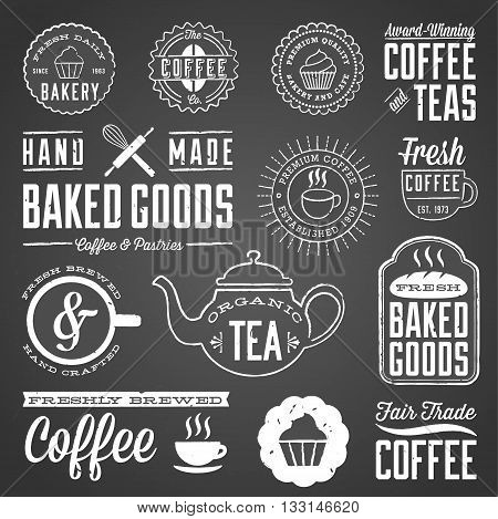 Chalkboard Cafe and Bakery Designs - Set of chalkboard labels and design elements. Colors are global and each design is grouped for easy editing.