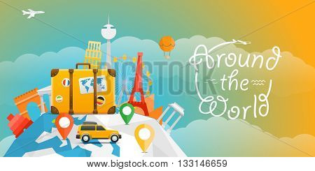 Vector travel illustration with the car. Around the world