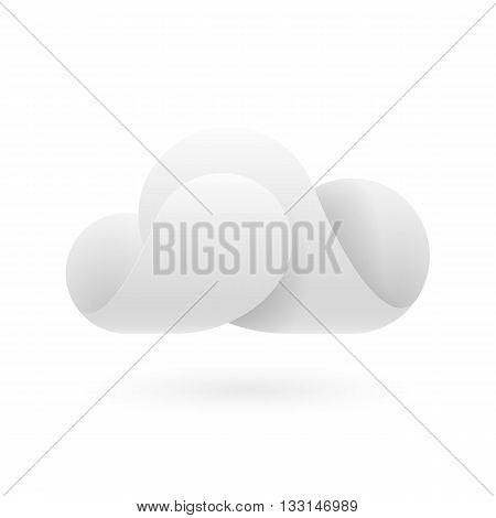 Abstract white cloud made of connecting curved elements. Cloud computing