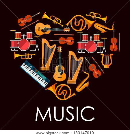 Love music heart icon made up of flat icons of musical instruments. Heart with acoustic guitars and drum kits, violins and saxophones, trumpets and horns, lyre, harps and synthesizer