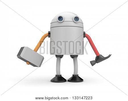 Multifunctional robot. 3d illustration,