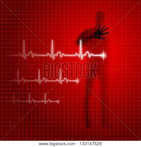 Shining red medical background with human silhouette and cardiogram line