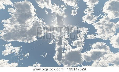 Cloud Cross in Sky 3D Render