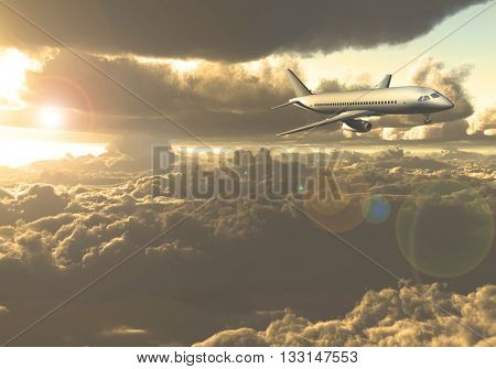 Jet Aircraft flying between clouds 3D Render