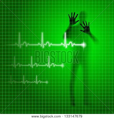 Shining green medical background with human silhouette and cardiogram line