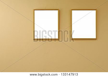 Empty Golden Picture Frames