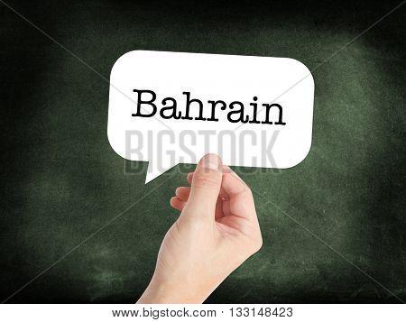 Bahrain written on a speechbubble