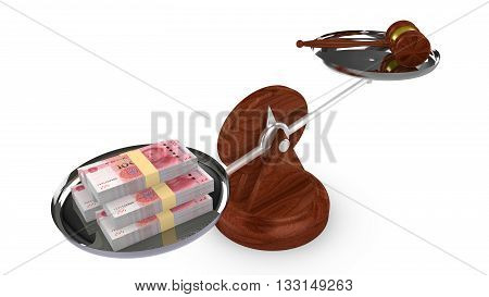 Balance with Chinese RMB on one side and a gavel on the other 3D illustration