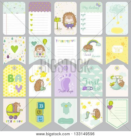 Baby Boy Tags. Baby Banners. Scrapbook Labels. Cute Cards. Vector Design Elements.
