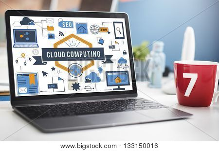 Cloud Computing Data Memory Online Concept