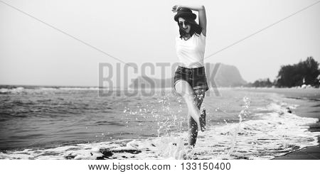 Female Outdoors Beach Relax Concept