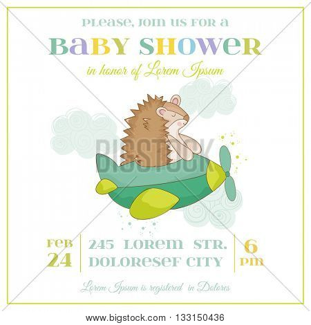 Baby Shower or Arrival Card - Baby Hedgehog in a Plane - in vector