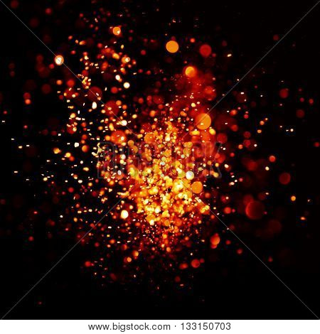 Red and gold Festive Christmas elegant abstract background with bokeh lights.Christmas card