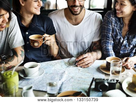 Camping Coffee Friendship Happiness Togetherness Concept