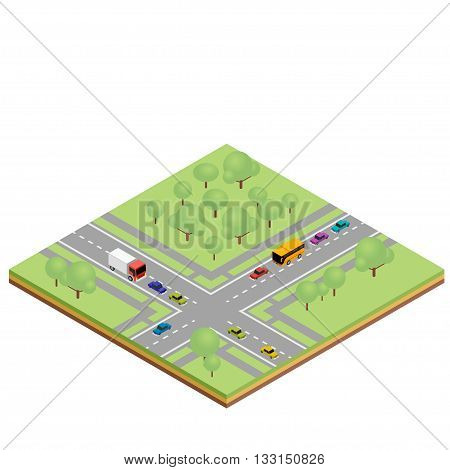 Isometric country crossroads concept. Vector illustration for infographics and web design