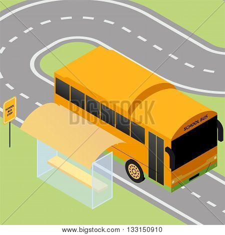 Isometric school bus stop with sign and road