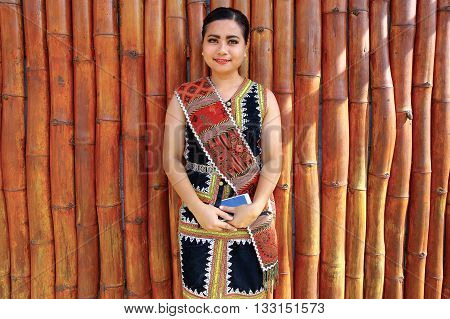 Penampang,Sabah-May 31,2016:Potrait of beautiful woman from Kadazandusun ethnic wearing traditional costumes during Kaamatan Festival at KDCA Penampang,Sabah,Borneo on 31st May 2016.