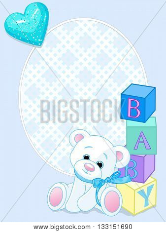 """Blue pattern with Teddy Bear and word """"baby"""" spelled out by blocks"""