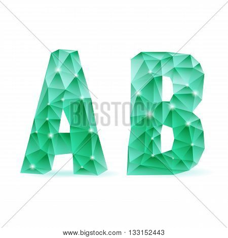 Shiny emerald green polygonal font. Crystal style A and B letters