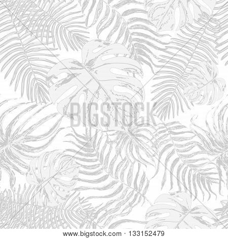 Vector endless background with graphic illustrations exotic leafs. Strong pale leaves of exotic monstera plant and palm tree. Retro style illustration.