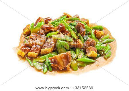 Crispy Pork Fried With Kale Thai Delicious Food