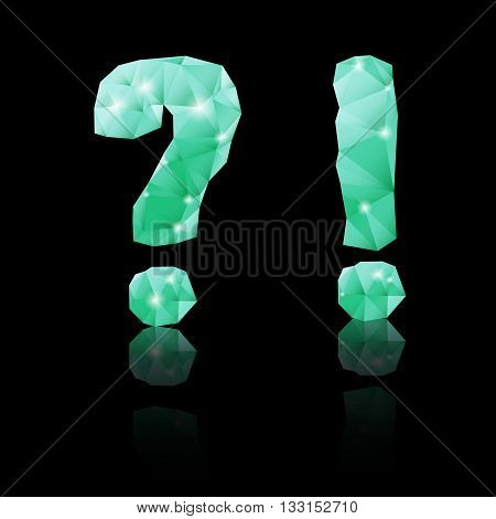 Shiny emerald green polygonal font with reflection on black background. Crystal style question and exclamation marks