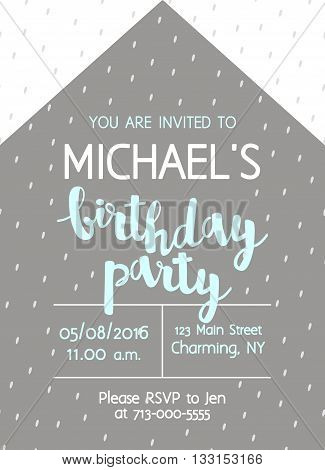 Vector Cute Kids Birthday Party Invitation With Lettering For Boy. Abstract Geometric Background Wit