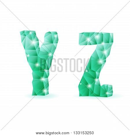 Shiny emerald green polygonal font. Crystal style Y and Z letters