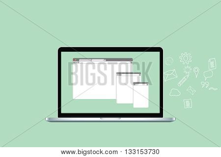 website browser technology things with laptop and icon works and website browsers vector graphic illustration