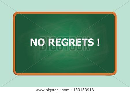 no regrets text with green board chalk effect vector graphic illustration