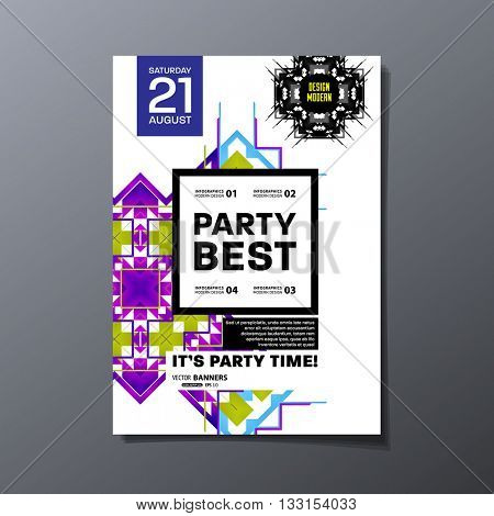 Party Flyer Template. Vector Design. Abstract Geometric Background.