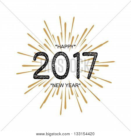 2017 Happy New Year. Beautiful greeting card calligraphy black text word gold fireworks. Hand drawn invitation T-shirt print design. Handwritten modern brush lettering white background isolated vector