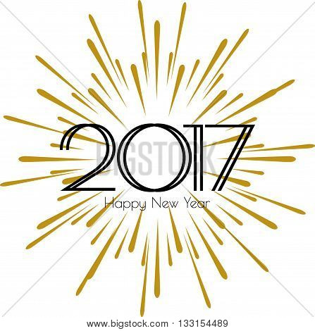 2017 Happy New Year. Beautiful modern greeting card black text word gold fireworks. Invitation T-shirt print design. Stylish banner on a white background isolated vector
