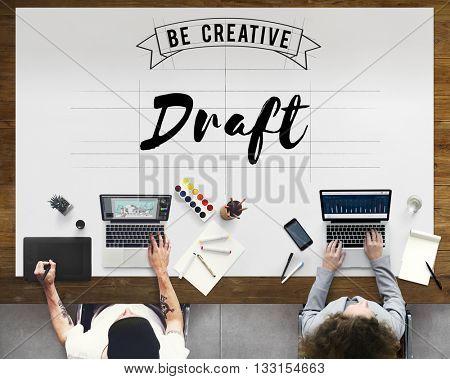 Draft Blueprint Creative Design Drawing Interior Concept