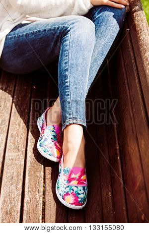 young woman  in comfortable summer shoes