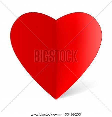 Red folded paper heart for your design