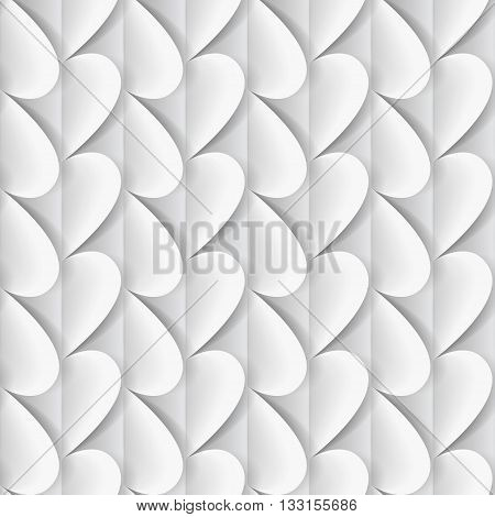 Romantic background made of white paper hearts