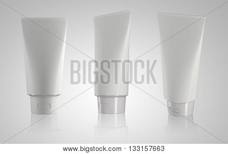 Collection of tube plastic packaging product 3D render image