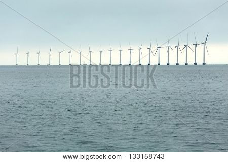Offshore wind turbines in cloudy weather