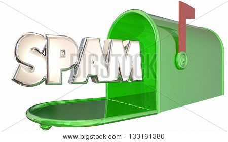 Spam Unsolicited Email Inbox Mailbox Word 3d Illustration