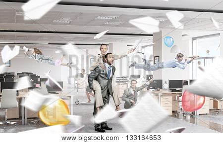 Business people having break in office