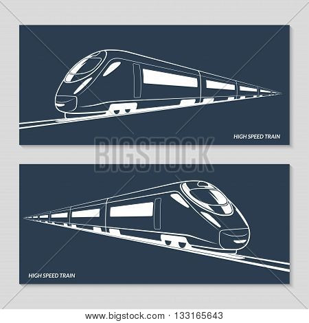 High speed train. Set of modern speed train silhouettes, outlines, contours. Vector illustration. Isolated on dark background